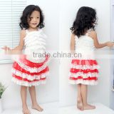 2016 hot sale baby lace frocks designs one pieces baby girls summer boutique white and red lace dress