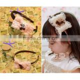 JF0118 Wholesale fancy chiffon mesh lace bowknot kdis girl hair bands baby hair headwraps