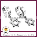 China Manufacturer Wholesale Religious Christians Stainless Steel Hollow Out Star Of David Stud Pendnat Charm Hoop Earrings