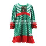 2016 Kaiyo children frocks designs dot print ruffle dress children christmas dress long sleeve dress new model girl dress