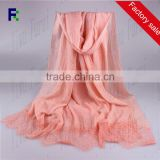 Wholesale Popular Leisure Lace Cotton Embroidered Flower Plain Pure Hijab Solid Color Scarf Shawl Scarves Ladies
