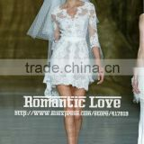R13609 2013 Barcelona summer show above knee short V-neck long sleeve lace wedding dress