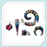 Best selling hot print zebra-stripe&leopard horseshoes ear plug/taper/spiral body piercing jewelry
