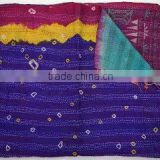 Indian Hand Quilted Neck Wrap Kantha designer women Scarf Silk Stole Dupatta Scarves Vintage Antique Long Reversible Scarf
