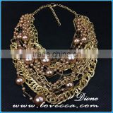 Dubai gold jewelry charms fashion women exaggerate pearl collar chain costume necklace