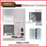 hot sales stainless steel europe style modern Multi layer solid wood furniture Sanitary high end bathroom mirror cabinet