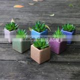 Whosale different colours decoration square ceramic bonsai pots china with hole