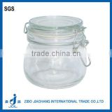 CK01 clear cylinder glass airtight jar with clamp lid and rubber seal for honey ,coffee ,sugar ,food