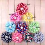 handmade fraying chiffon flower with pearl beads center for kids hair accessories for baby girl