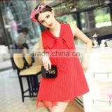 women new fashion Korean style bow tie red color stripes printing sleeveless A line casual dress