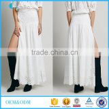 Ladies crop top and long skirt Sexy hollow out off shoulder short sleeve white beach dress