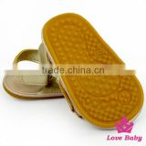 Wholesale Summer Plain Golden Tassel Infant Soft Sole Prewalker Barefoot Toddler Shoes Newborn Baby Sandals