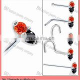 unique orange CZ Marquise Nose Ring body piercing jewelry rings