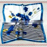 Good Quality Very Soft Floral Printing Silk Neckerchief For Ladies