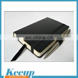 Promotional stationery gifts black hardcover pu notebook with elasic band and pen