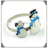 Hot sale couple snowman design metal napkin ring for christmas