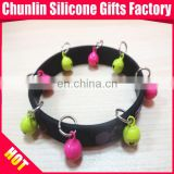 Lovely Silicone Bracelets with Jingle Bell for 2014