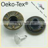 zinc alloy jeans button black shank