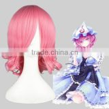 High Quality 35cm Short Curly Touhou Project-Saigyouji Yuyuko Pink Synthetic Anime Wig Cosplay Costume Hair Wig Party Wig