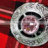 Celtic Design Piper Plaid Brooch With Pink Stone In Chrome Finish Made Of Brass Material