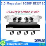 2015 China Alibaba hot selling hd zoom 1080P 4CH IP bullet camera system 4channel cctv IP NVR kit