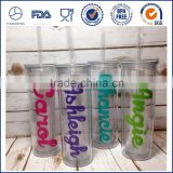 500ML Plastic Tumbler with Straw- Hot and Cold Double Wall Drinking Mug- 16 oz. Skinny Acrylic Tumbler