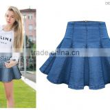 High waist short denim skirt women blue elasticity denim pleated mini skirt girls ball gown sexy girls in short denim skirt