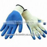 10 Gauge Knitting Seamless T/C Gloves, Yellow Color, Single-sided Latex-coated Palm and Finger