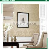 amazing embossed plastic wallpaper, vanilla yellow classic damask wallcovering for hallway , small scale wall sticker wholesale