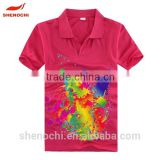 100% polyester sublimation printed fabric made in China cheap summer fashion polo t shirt