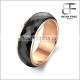 Wholesale New Design black ceramic spinning rings Rose Gold Plating