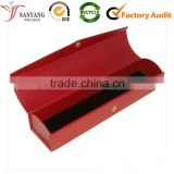 Red art elegant printing button clasp jewelry box long and narrow paper box for necklace