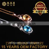 jewellery 925sterling silver 18K gold plat precious natural blue topaz yellow citrine gems pendant necklace turkish gold jewelry