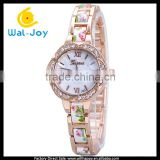 WJ-5219 personality Geneva shell face charming colorful plastic and alloy strap girls bracelet watch