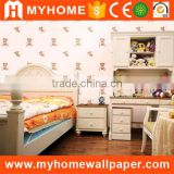 Wholesale Cheap Solid Pink Blue Color Background Cute Carton Bear Design Baby Kids Wallpaper for Bedroom