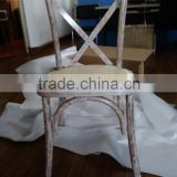 antiqued/distressed white Oak/beech/birch wood dining cross back chair, X back chair