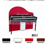 Digital Piano Factory 88 keys Touch Sensitive Hammer Keyboard MIDI Red Polish HUANGMA HD-8812 Upright Digital Piano