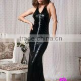 Latest fashion front zipper party wear black leather ladies maxi dress