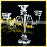Handmade Exquisite Tall Crystal 3 Arm Candelabra For Wedding Centerpiece Table Decoration