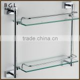 Square Zinc Alloy And Frosted Glass Chrome Plated Bathroom Accessories Wall Mounted Tier Shelf With Bar