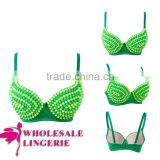 2014 Fashion Design Shiny Green And Yellow Rivet Spike Bra Top