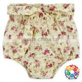 High ruffle waist knot bow shorts for kids girls floral cotton summer toddler baby girls shorts