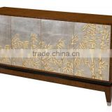 Royal Exquisite Victorian Style Brown Solid Wood TV Cabinet with Chinoiserie Silver and Bamboo Painting Decoration BF12-05314b