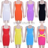 Spaghetti Strap Bandage Dress 2014 High Quality Women Candy HL Bodycon Dresses Colorful White Black Red Yellow Purple