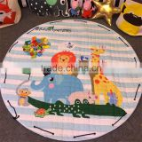 Hot sale INS round shaped plush elephant print pattern baby outing crawling blanket baby play mats