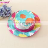 flower printing two way for wear small girls hat cute beautiful baby sun hat ,little fancy baby hats