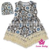 48BQA142 Lovebaby Stylish Little Girls Sleevless Printed Dress With Baby Cute Hat Pari Dress For Baby Girl