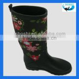 Knee High Lady's Fashion Neoprene Rain Boots with Beautiful Print Upper