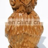 Wood sculpture natural color owl 11cm mini figurines artisan gifts home goods decorating ideas
