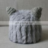 Cute winter lady knitted hats weaven rabbit fur hats for women warm